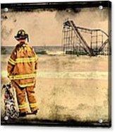Hurricane Sandy Fireman Acrylic Print
