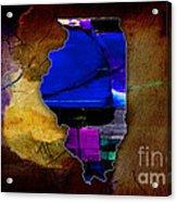 Illinois Map Watercolor Acrylic Print
