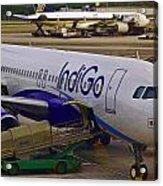 Indigo Aircraft Getting Ready In Changi Airport Acrylic Print