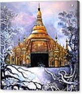 Interpretive Illustration Of Shwedagon Pagoda Acrylic Print by Melodye Whitaker