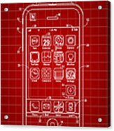 iPhone Patent - Red Acrylic Print