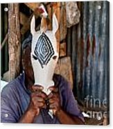 Kenya. December 10th. A Man Carving Figures In Wood. Acrylic Print
