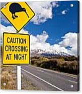 Kiwi Crossing Road Sign And Volcano Ruapehu Nz Acrylic Print
