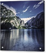 Lake Braies And Dolomite Alps, Northern Acrylic Print