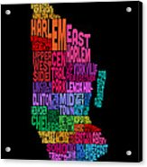 Manhattan New York Typography Text Map Acrylic Print