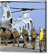 Marines Board A Ch-46e Sea Knight Acrylic Print