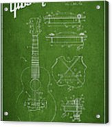 Mccarty Gibson Stringed Instrument Patent Drawing From 1969 - Green Acrylic Print