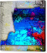 Memphis Map And Skyline Watercolor Acrylic Print