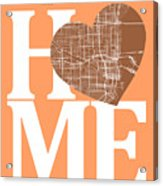 Miami Street Map Home Heart - Miami Florida Road Map In A Heart Acrylic Print