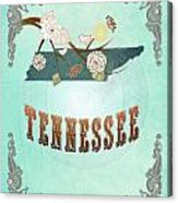 Modern Vintage Tennessee State Map  Acrylic Print