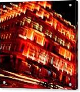 Moving Fast In The Town At Night  Acrylic Print