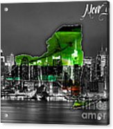 New York Map And Skyline Watercolor Acrylic Print