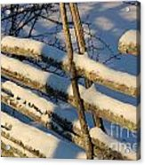 Old Swedish Wooden Fence In Winter Acrylic Print