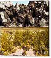Over-under Split Shot Of Clear Water In Tidal Pool Acrylic Print
