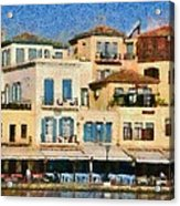 Painting Of The Old Port Of Chania Acrylic Print by George Atsametakis
