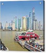 Pudong Skyline In Shanghai China Acrylic Print