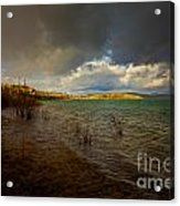 Rainbow And Dark Clouds Over Large Lake Acrylic Print
