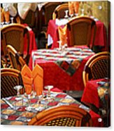 Restaurant Patio In France Acrylic Print by Elena Elisseeva