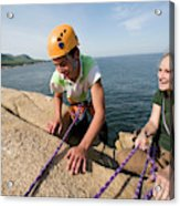 Rock Climbing On Oceanside Cliffs Acrylic Print