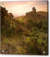 Romantic Fantasy Magical Castle Ruins Against Stunning Vibrant S Acrylic Print