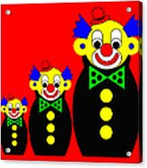 3 Russian Clown Dolls on red Acrylic Print