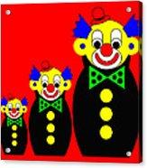 3 Russian Clown Dolls on red Acrylic Print