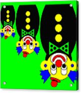 3 Russian Clown Dolls stand on the head for you Acrylic Print
