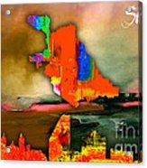 San Jose Map And Skyline Acrylic Print