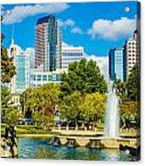 Skyline Of A Modern City - Charlotte North Carolina Usa Acrylic Print