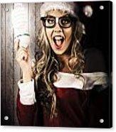 Smart Female Santa Claus With Christmas Idea Acrylic Print