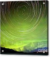 Star Trails And Northern Lights In Night Sky Acrylic Print