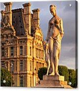 Statue Below Musee Du Louvre Acrylic Print
