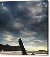 Stunning Shipwreck On Rhosilli Bay Beach Landscape At Sunset Acrylic Print