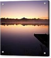 Sunrise In Fog Lake Cassidy With Fishermen In Small Fishing Boat Acrylic Print