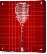 Tennis Racket Patent 1887 - Red Acrylic Print