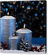 Three Silver Candles In Snow  Acrylic Print