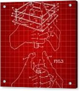 Thumb Wrestling Game Patent 1991 - Red Acrylic Print