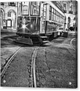 Typical Lisbon Tram In Commerce Square Acrylic Print