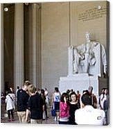 Visitors At The Lincoln Memorial Acrylic Print