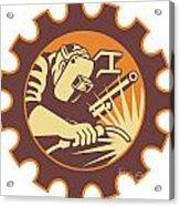 Welder Worker Welding Torch Retro Acrylic Print