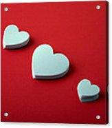 White Hearts Acrylic Print