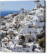 Windmills And White Houses In Oia Acrylic Print