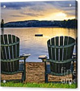 Wooden Chairs At Sunset On Beach Acrylic Print