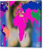 World Map And Aphrodite Acrylic Print