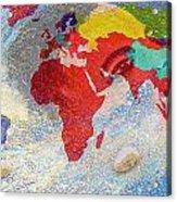 World Map And Barack Obama Stars Acrylic Print