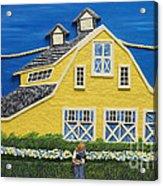 Yellow Barn Acrylic Print by Anne Klar