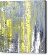Placed - Grey And Yellow Abstract Art Painting Acrylic Print