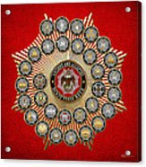 33 Scottish Rite Degrees On Red Leather Acrylic Print