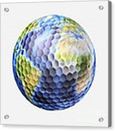 3d Rendering Of A Planet Earth Golf Acrylic Print