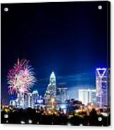 4th Of July Firework Over Charlotte Skyline Acrylic Print
